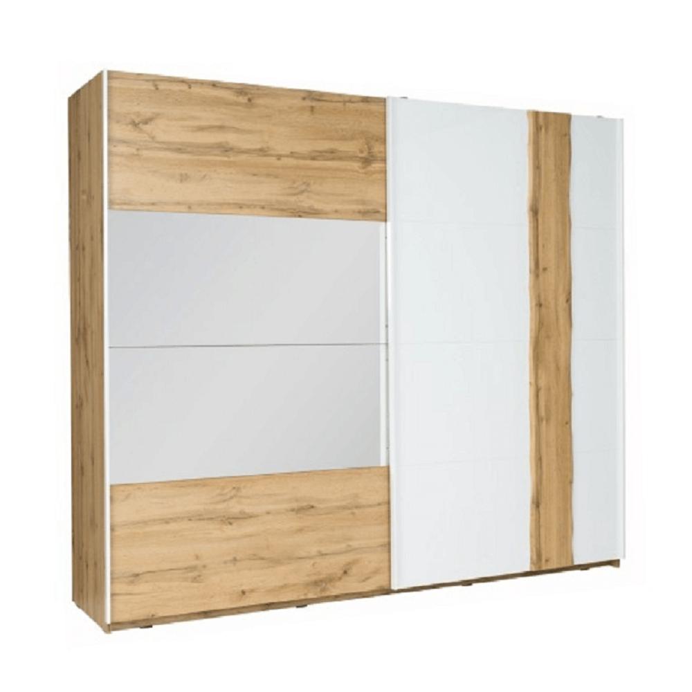 2-ajtós szekrény, tölgy wotan/fehér, VODENA 250