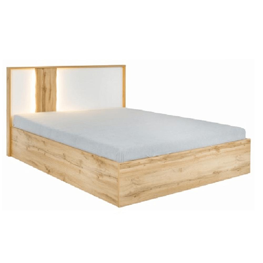 Ágy, tölgy wotan/fehér, 180x200, VODENA