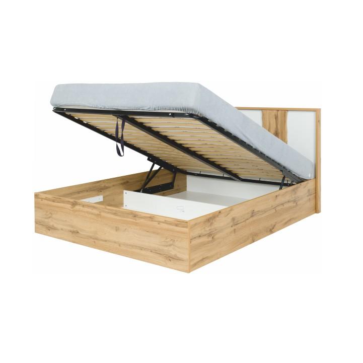 Posteľ s úložným priestorom, dub wotan/biela, 160x200, VODENA, úložný priestor