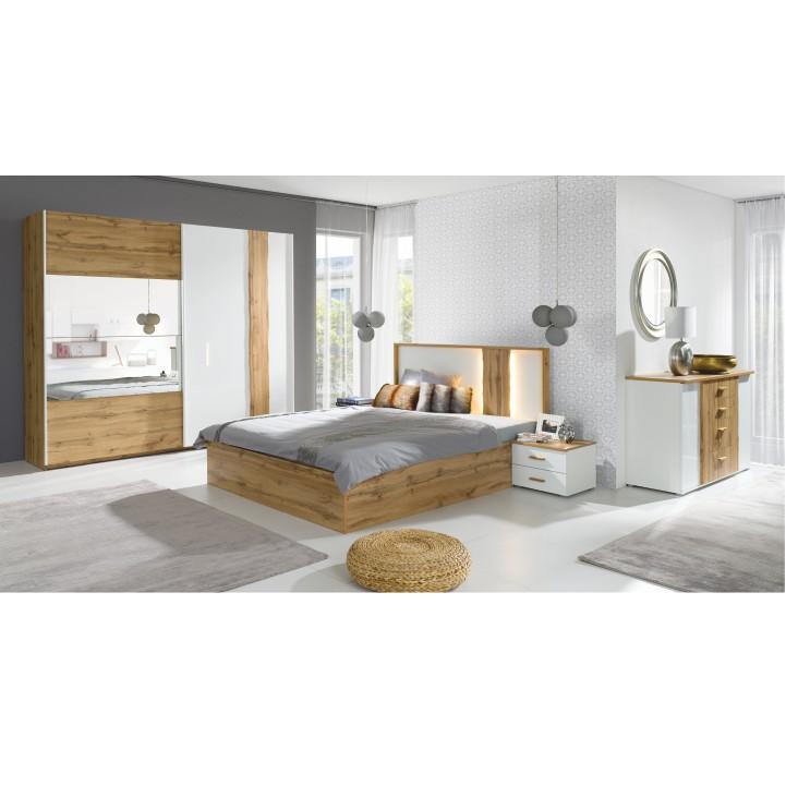 Posteľ s úložným priestorom, dub wotan/biela, 160x200, VODENA, interiér