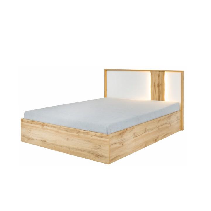 Posteľ s úložným priestorom, dub wotan/biela, 160x200, VODENA, s LED osvetlením