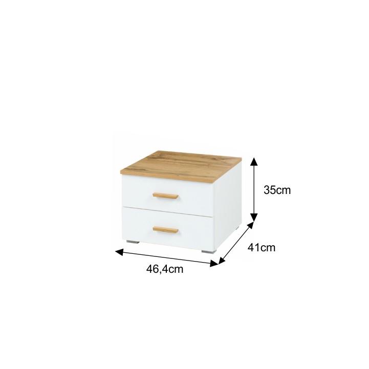 Nočný stolík, dub wotan/biela, VODENA, s rozmermi
