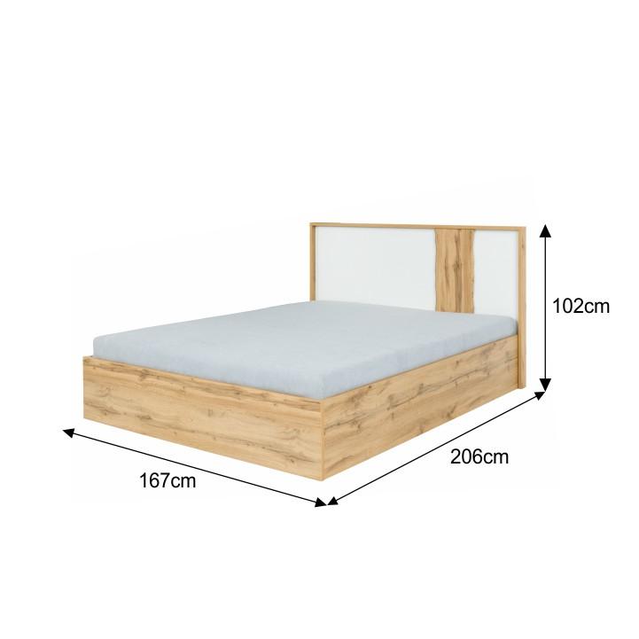 Spálňový kompet, dub wotan/biela, VODENA, posteľ