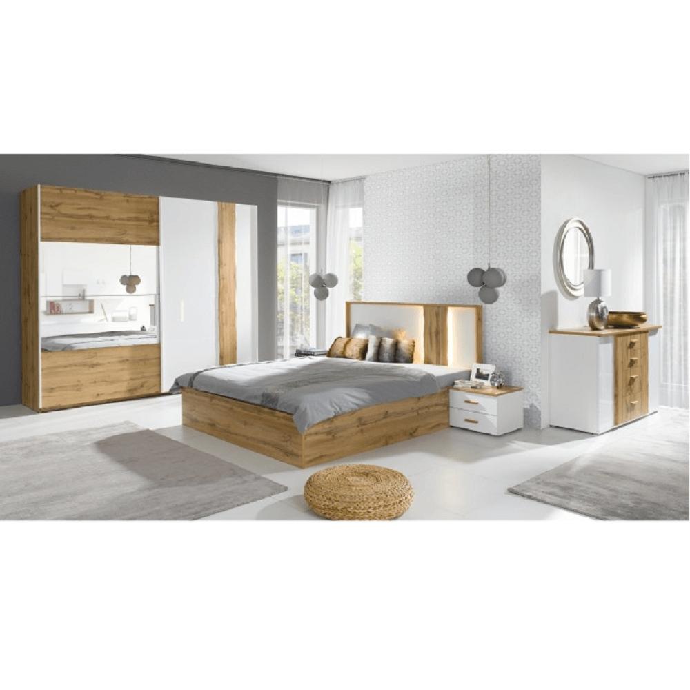 Hálószoba garnitúra, tölgy wotan/fehér, VODENA