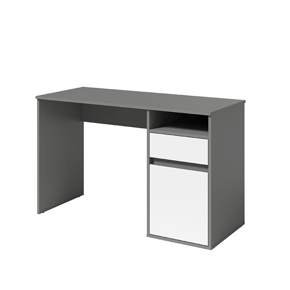 Masă pentru calculator, gri-grafit închis / alb, BILI