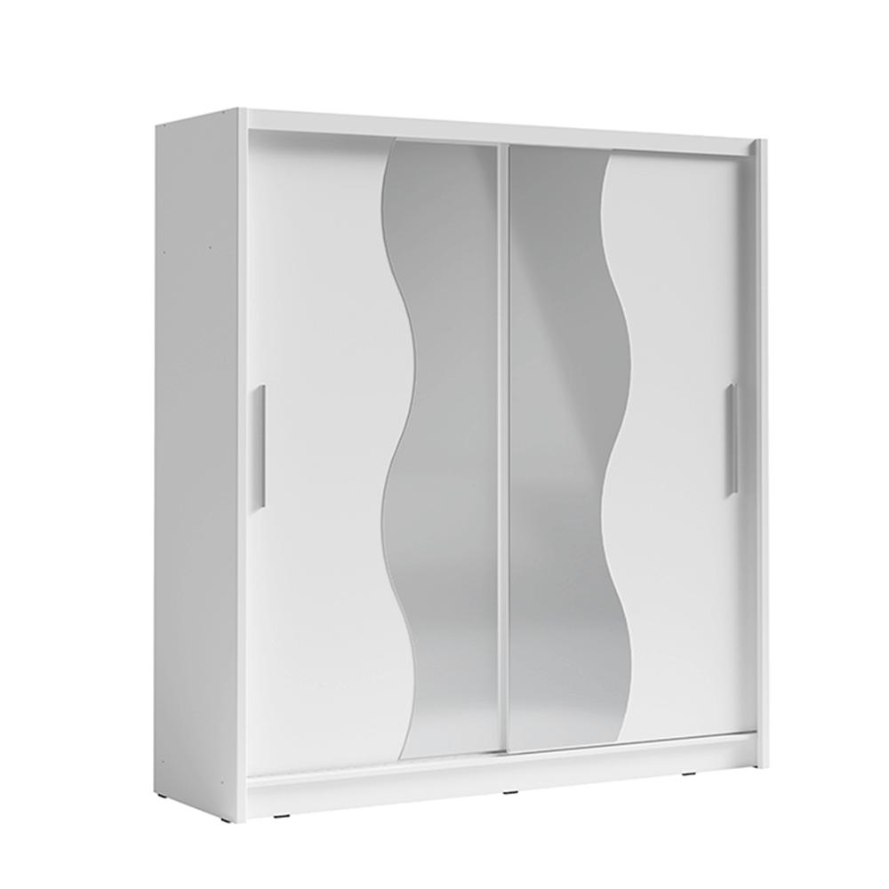 Dulap cu uşi glisante, alb, BIRGAMO TYP 1
