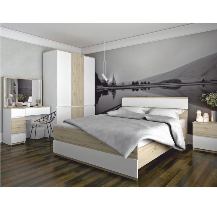 Posteľ, dub wellington/biely, 160x200, LEIRA, interiér