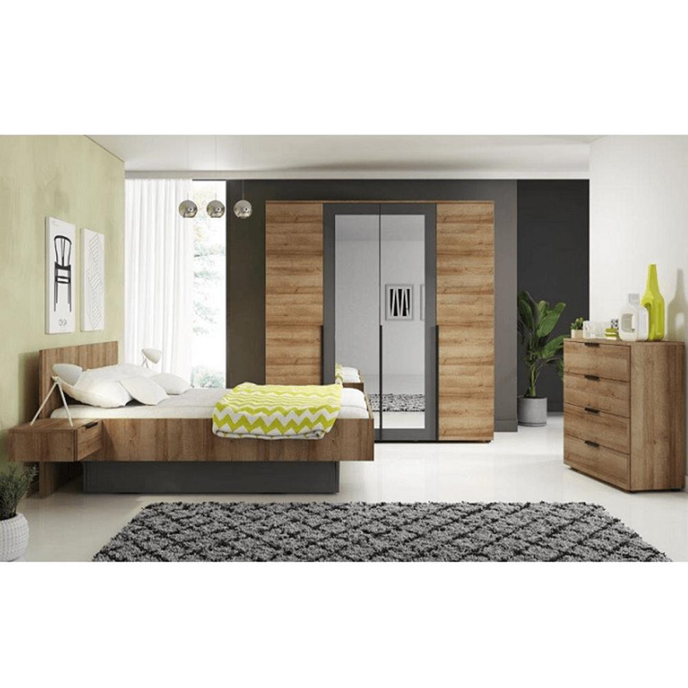 Set dormitor, stejar riviera auriu / grafit MANNO
