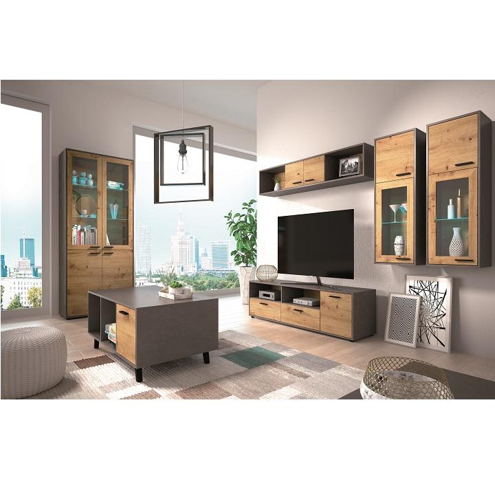 Polica, dub artisan/smooth sivý, PARIDE P1 v obývačke