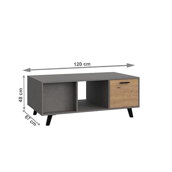 Konferenčný stolík, dub artisan/smooth sivý, PARIDE ST, s rozmermi