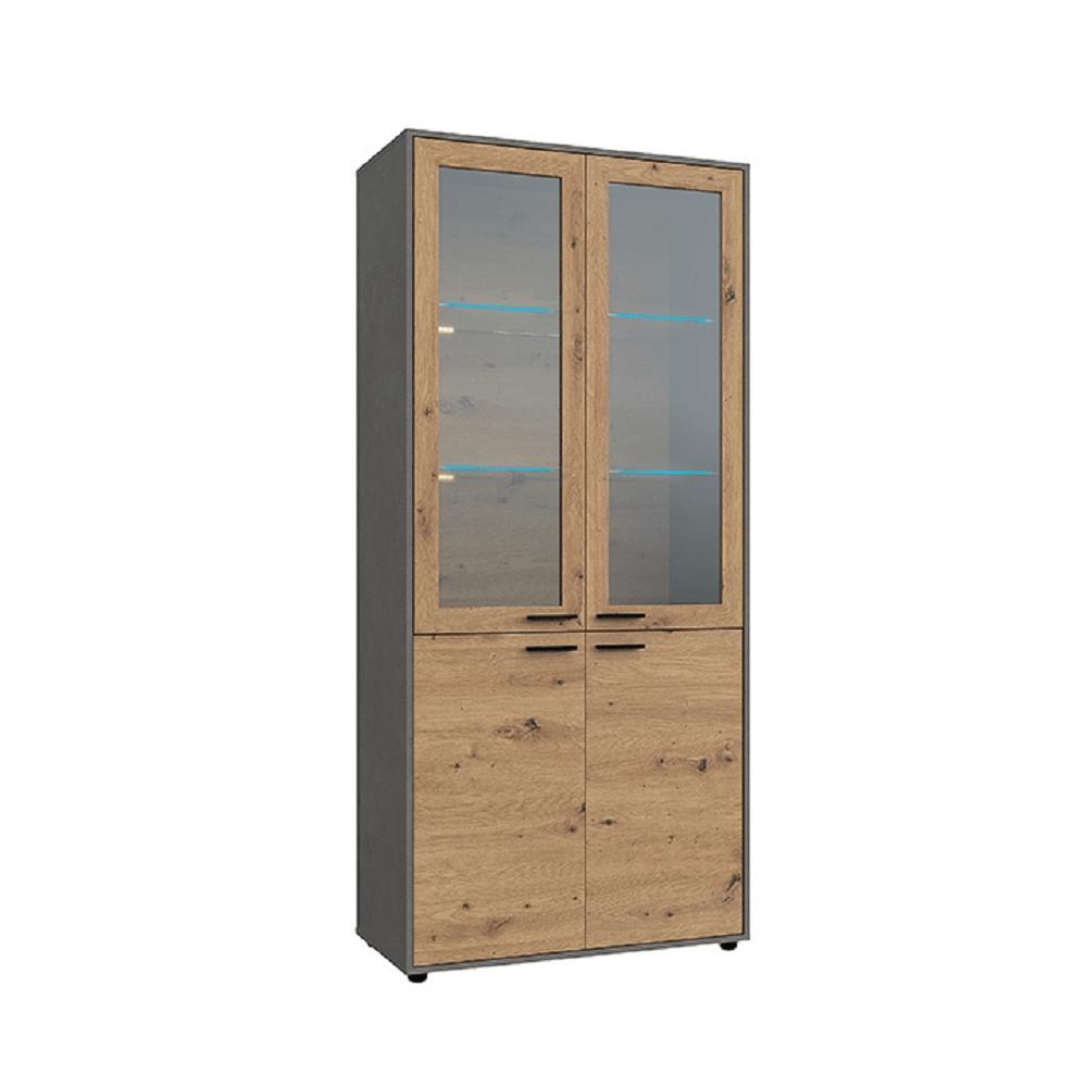 Vitrines szekrény, tölgy artisan/smooth szürke, PARIDE W2D
