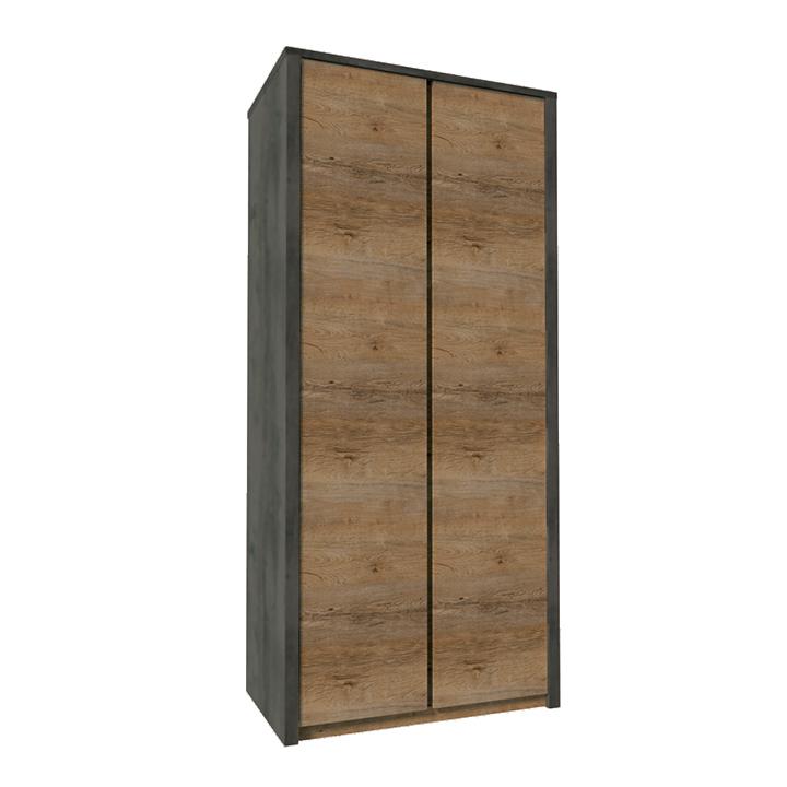 Dulap cu două uşi, stejar lefkas închis/smooth gri, MONTANA S2D