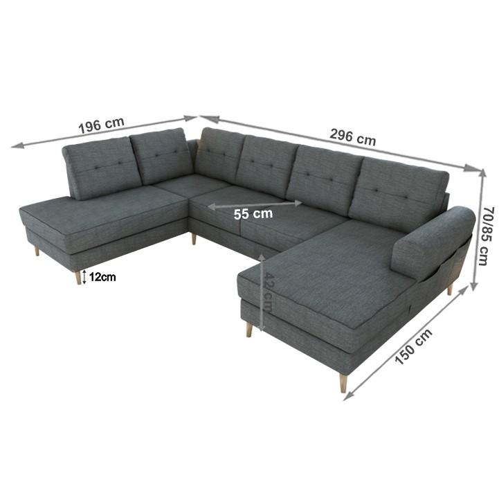 Rohová sedacia súprava, ľavá, sivá, ONTARIA ROH U, s rozmermi