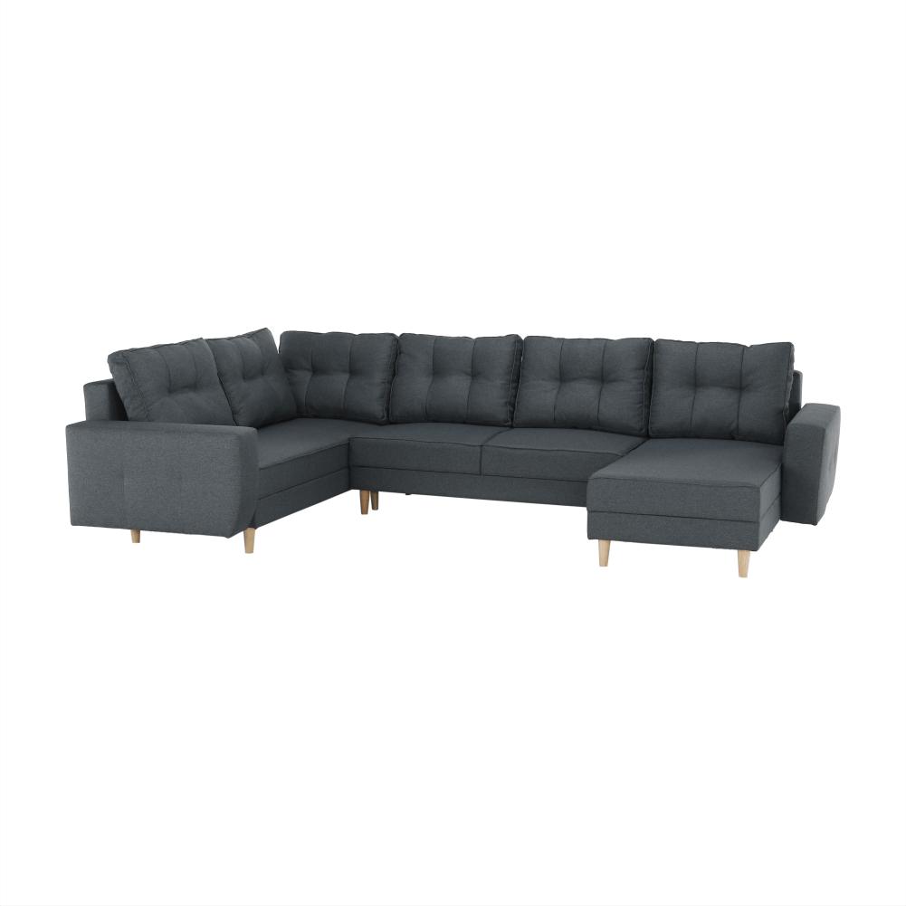 Ülőgarnitúra, sötétszürke, VINCENT  U alakú