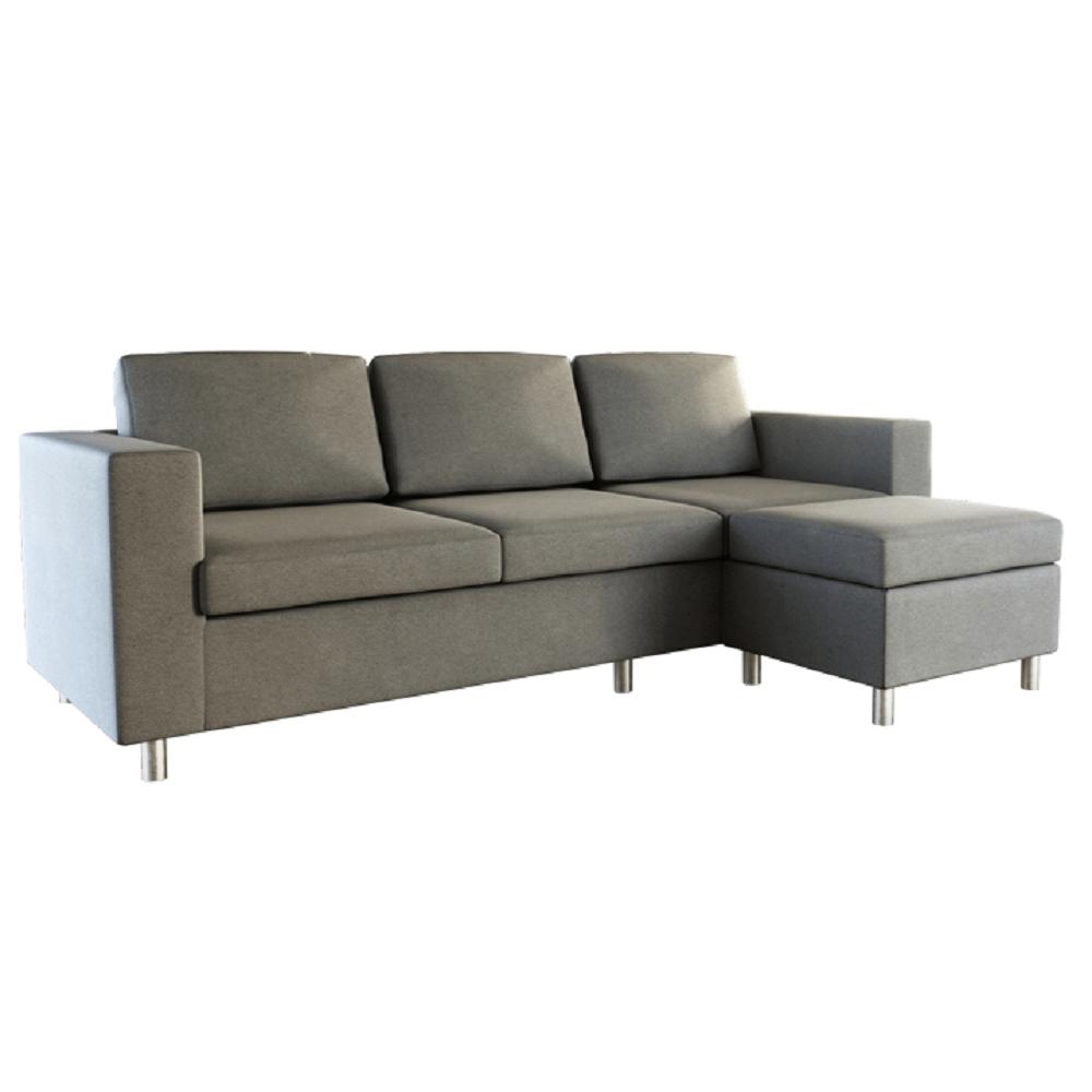 3-személyes kanapé puffal, világosszürke, SILERA