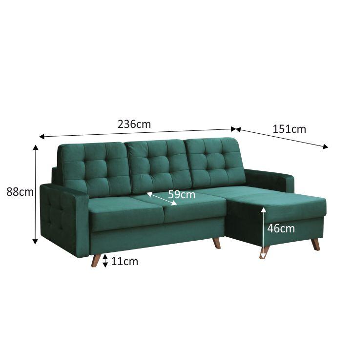 Univerzálna sedacia súprava, smaragdová/orech, MEDLIN s rozmermi