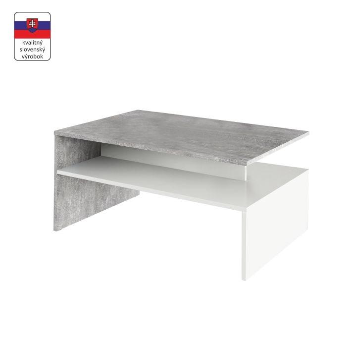 Konferenčný stolík, beton/biely,  DAMOLI