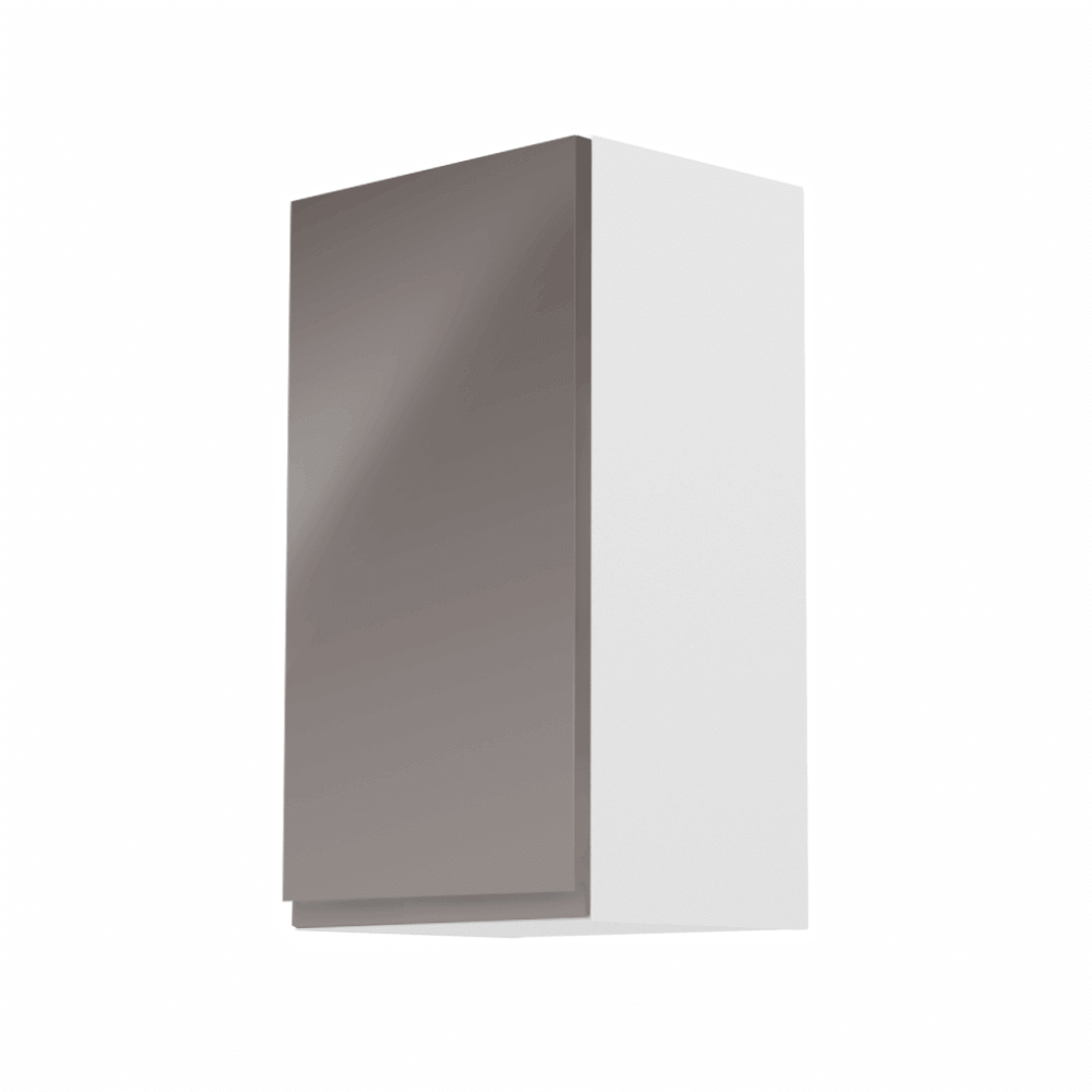 Dulap superior, alb/gri extra lucios, stânga, AURORA G40