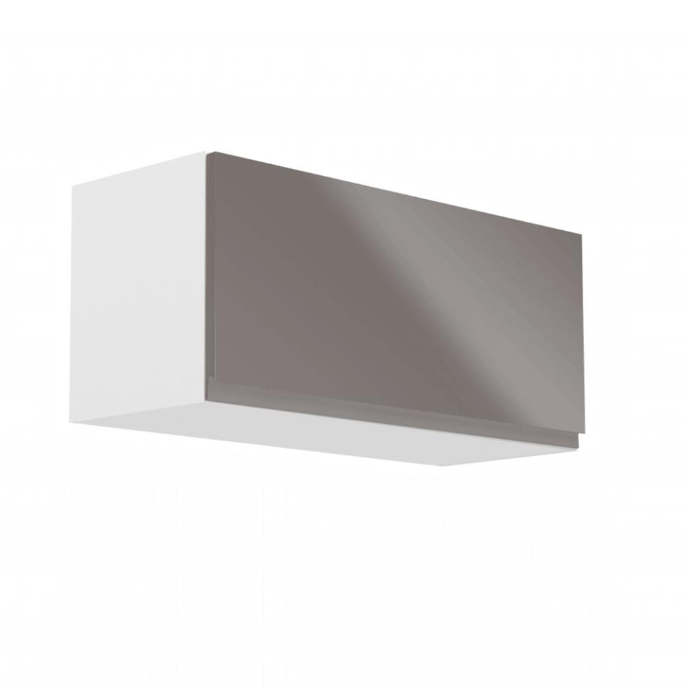 Felsőszekrény, fehér/szürke extra magasfényű, AURORA G80K