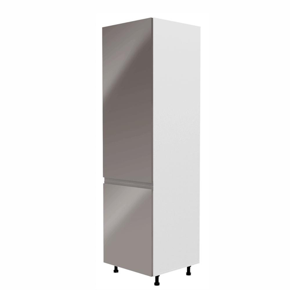 Hűtőgép szekrény, fehér/szürke extra magasfényű, balos, AURORA D60R