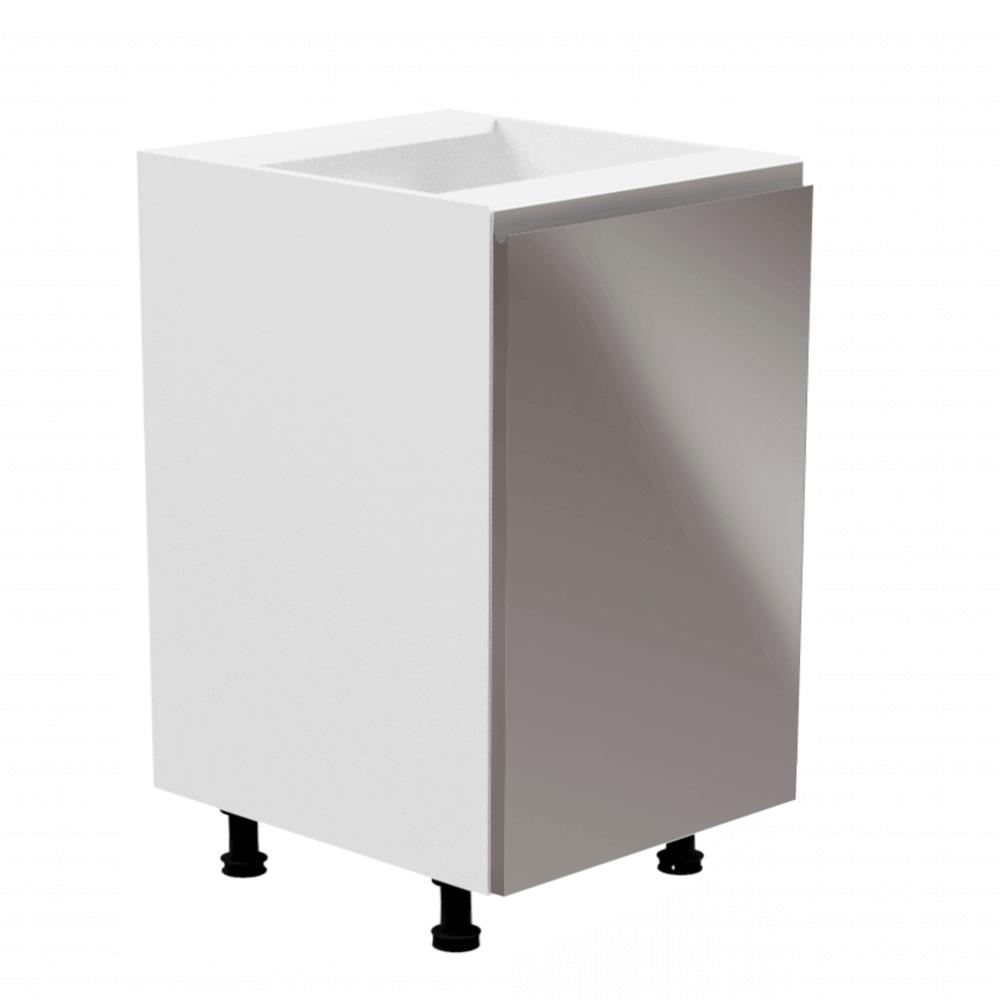 Alsószekrény, fehér/szürke extra magasfényű, jobbos, AURORA D601F
