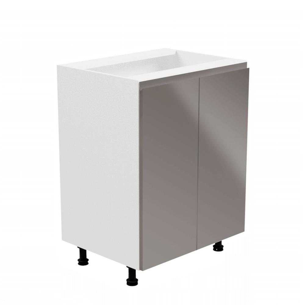 Alsószekrény, fehér/szürke extra magasfényű, AURORA D602F