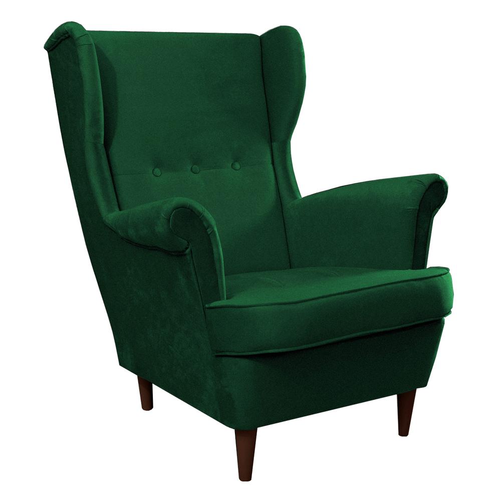 Füles fotel, zöld/dió, RUFINO
