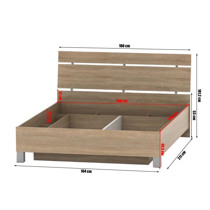 Posteľ s úložným priestorom, dub sonoma, 160x200, LUNA, rozmery