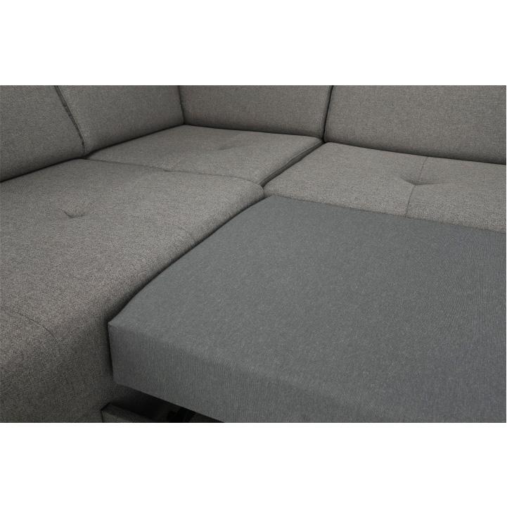 Sedacia súprava, svetlohnedá/orech, ľavá, KONKORD, detail sedačky
