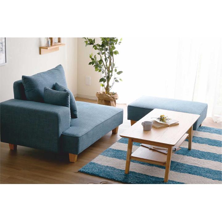 Leňoška s taburetom, modrá látka, ľavá, DURAN