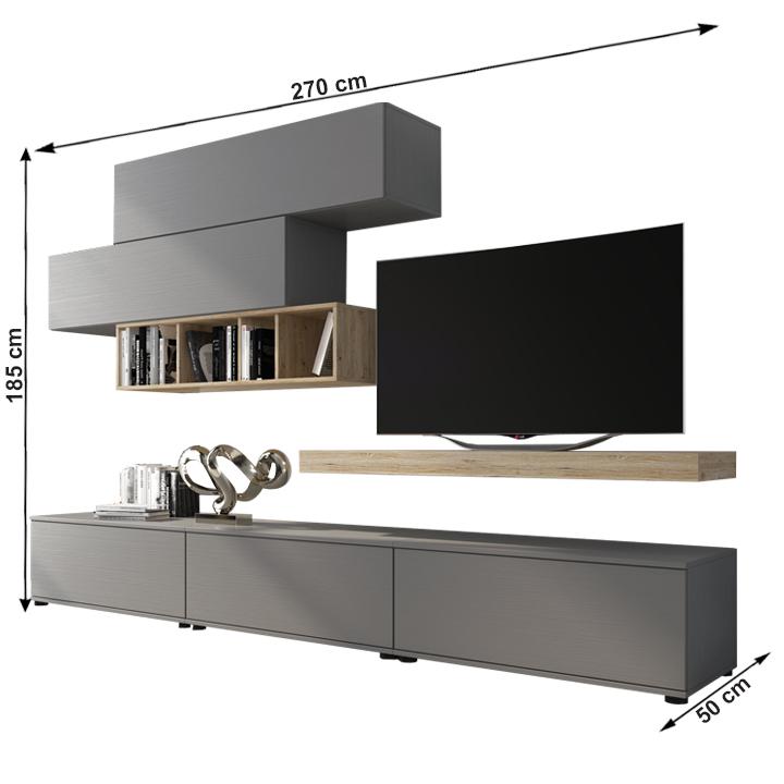 Obývacia stena, sivá/dub san remo, KORFU, s rozmermi