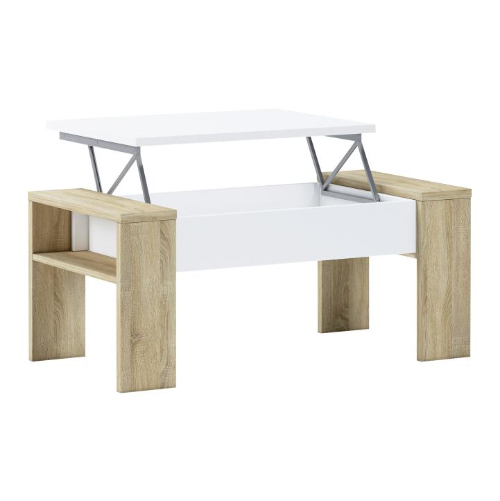 Konferenčný stolík, dub sonoma/biela, PULA, úložný priestor