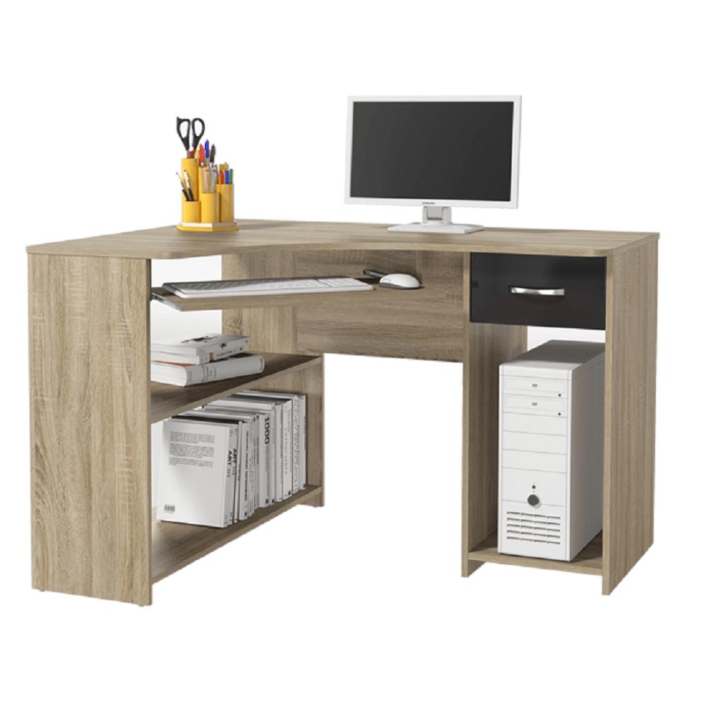 sarok PC asztal, tölgy sonoma/magasfényű fekete, UMAG
