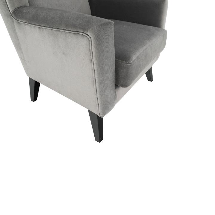 Kreslo-ušiak, svetlosivá/čierna, Rodeza, sedadlo
