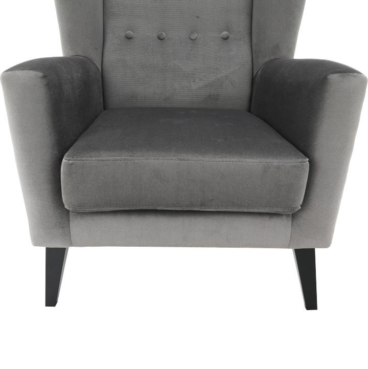 Kreslo-ušiak, svetlosivá/čierna, Rodeza, sedadlo z predu