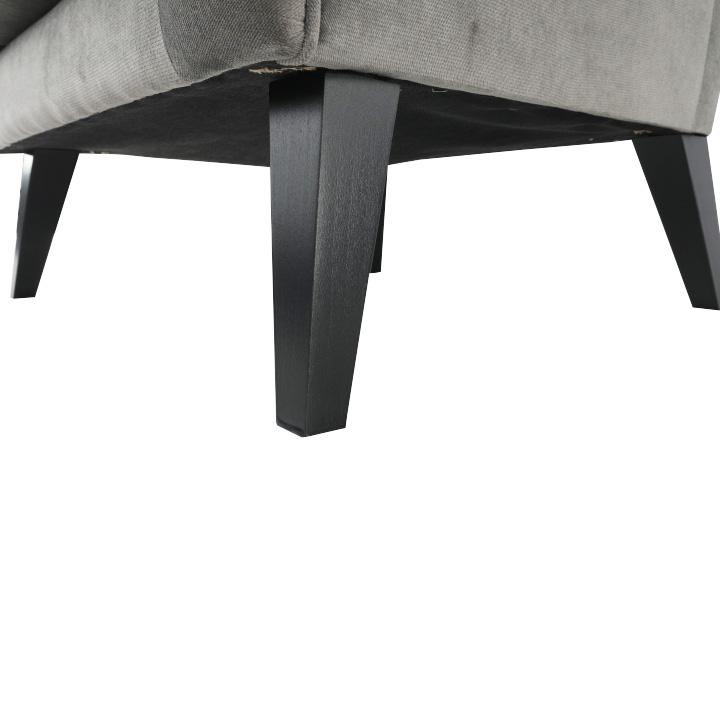 Kreslo-ušiak, svetlosivá/čierna, Rodeza, detail na nožičky
