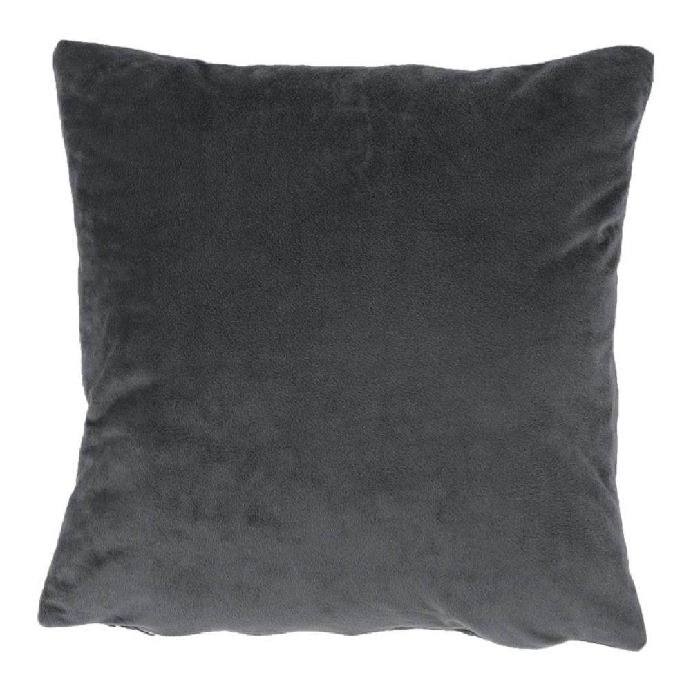 Pernă, material textil de catifea gri închis, 60x60, OLAJA TIPUL 8