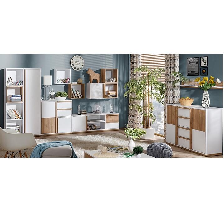RTV stolík, orech select/biela, KNOX E4 v obývačke