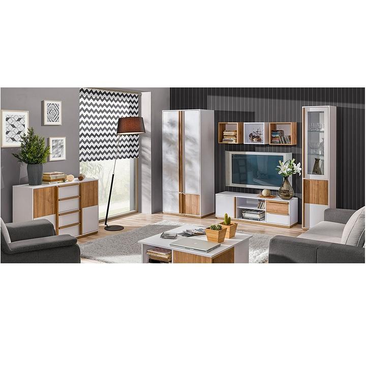 RTV stolík, orech select/biela, KNOX E4 v interiéri