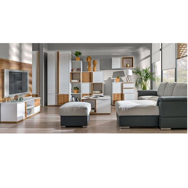 RTV stolík, orech select/biela, KNOX E4 v priestore