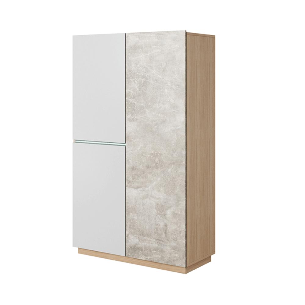 Szekrény, beton/tölgy borostyán/fehér LAGUNA