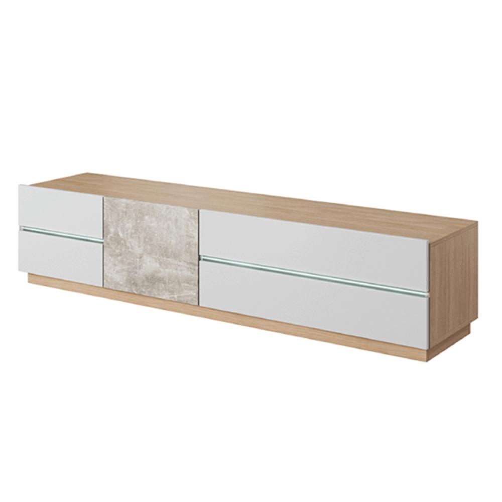 Comodă RTV, beton/stejar jantar/alb mat, LAGUNA 180