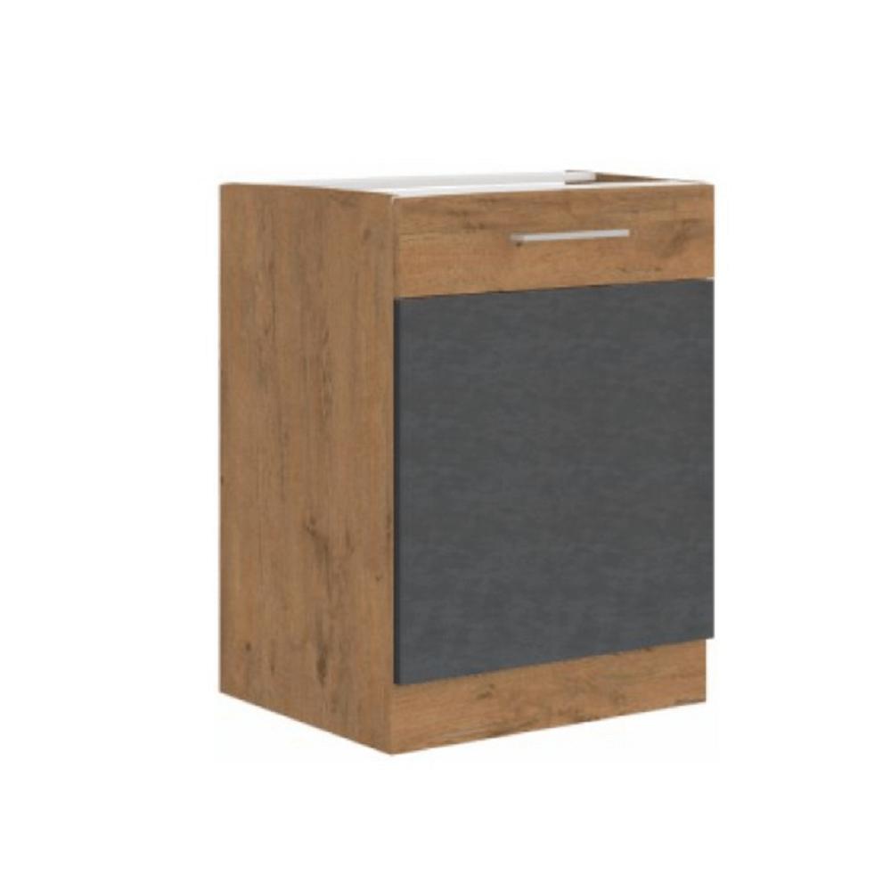 Alsószekrény, szürke matt/tölgy lancelot, VEGA 60 D 1F BB