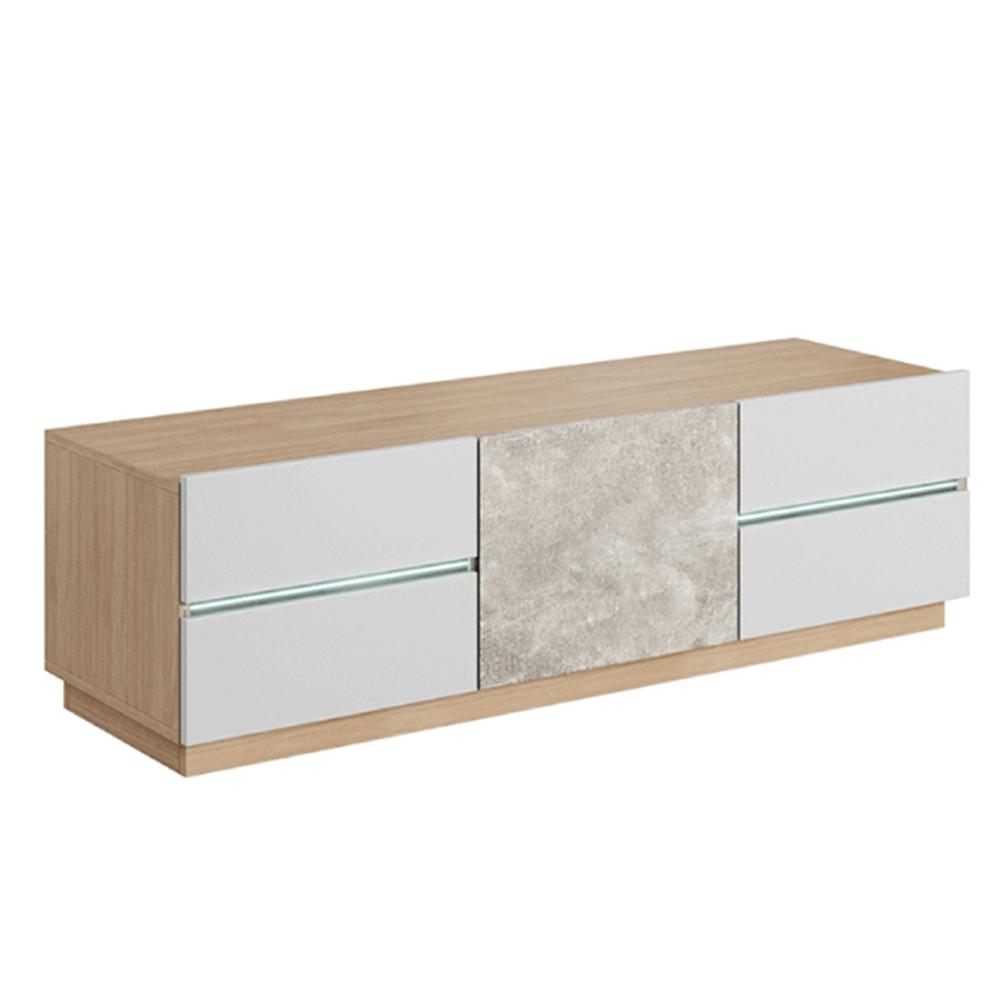 Comodă RTV, beton/stejar jantar/alb mat, LAGUNA 135