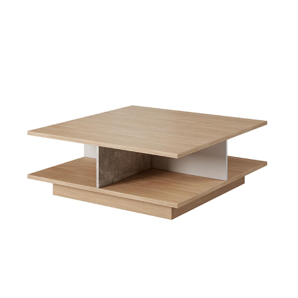 Dohányzóasztal, beton/tölgy borostyán/fehér LAGUNA