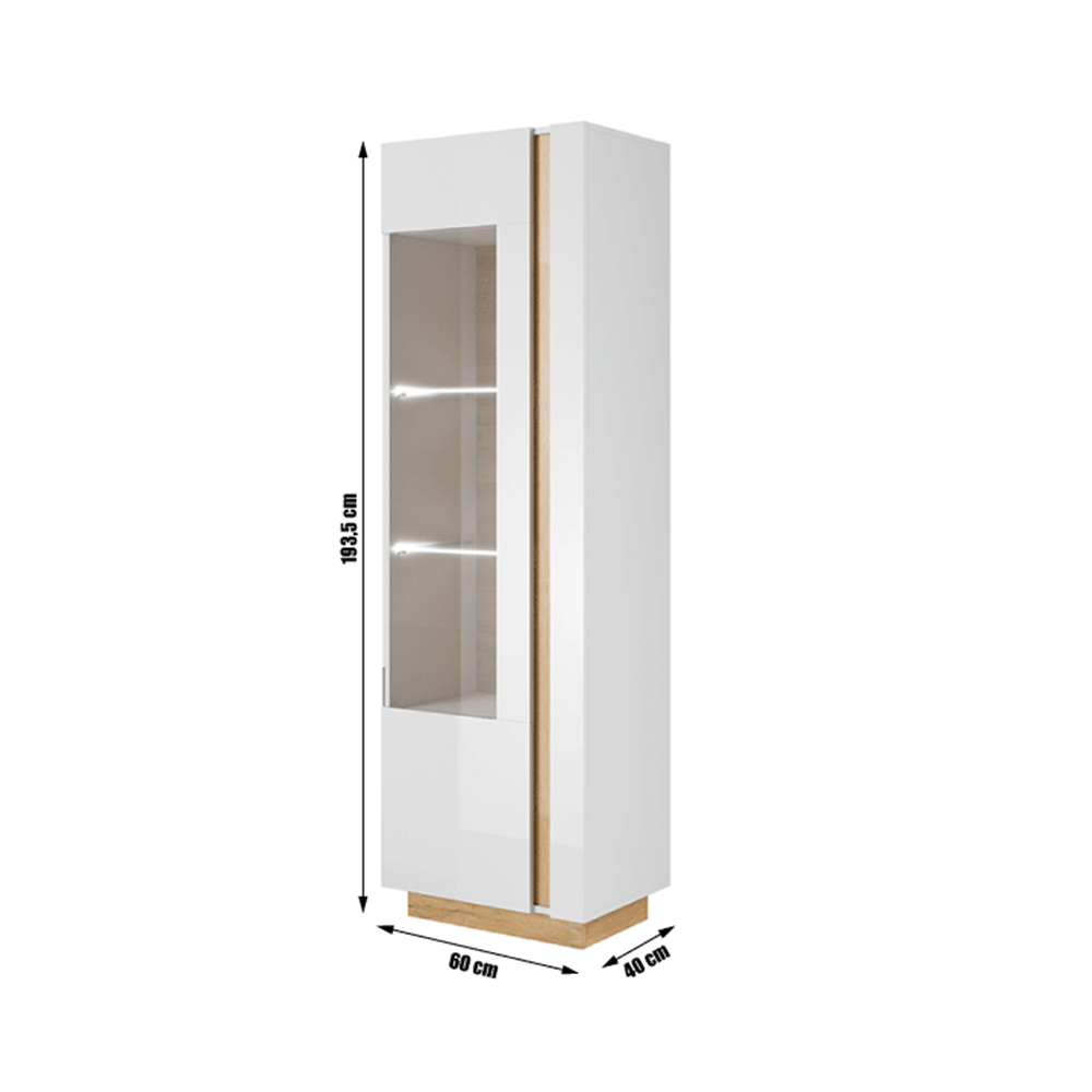Vysoká vitrína 60, biela/dub grandson/biely lesk, CITY