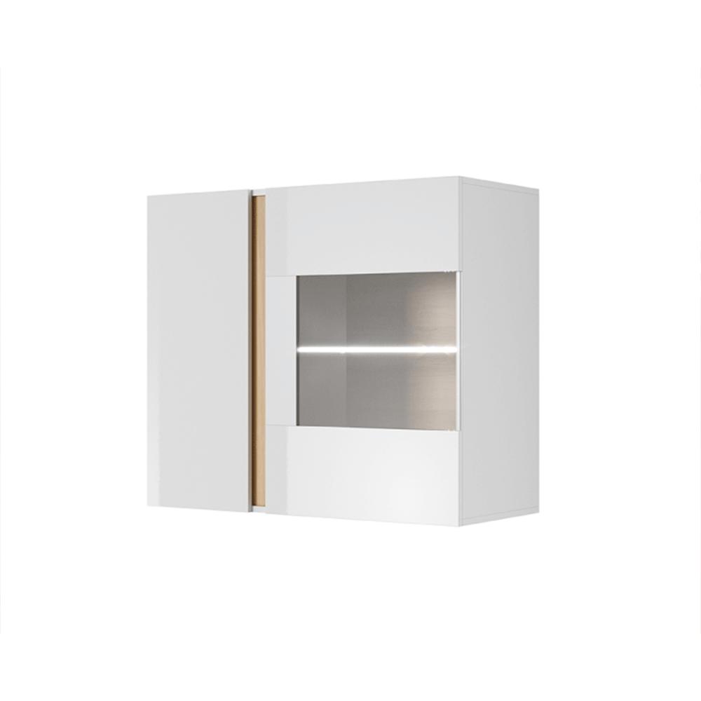 Fali vitrines szekrény 96, fehér/tölgy grandson/magasfényű fehér, CITY