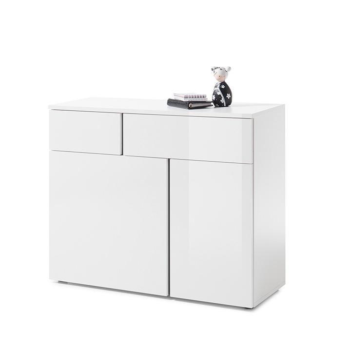 Komoda 2, biela/biely lesk/sivá, RADAL 2Z2D, ilustračná fotografia