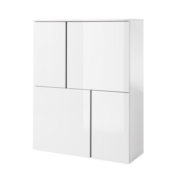 Komoda 4, biela/biely lesk/sivá, RADAL 4D