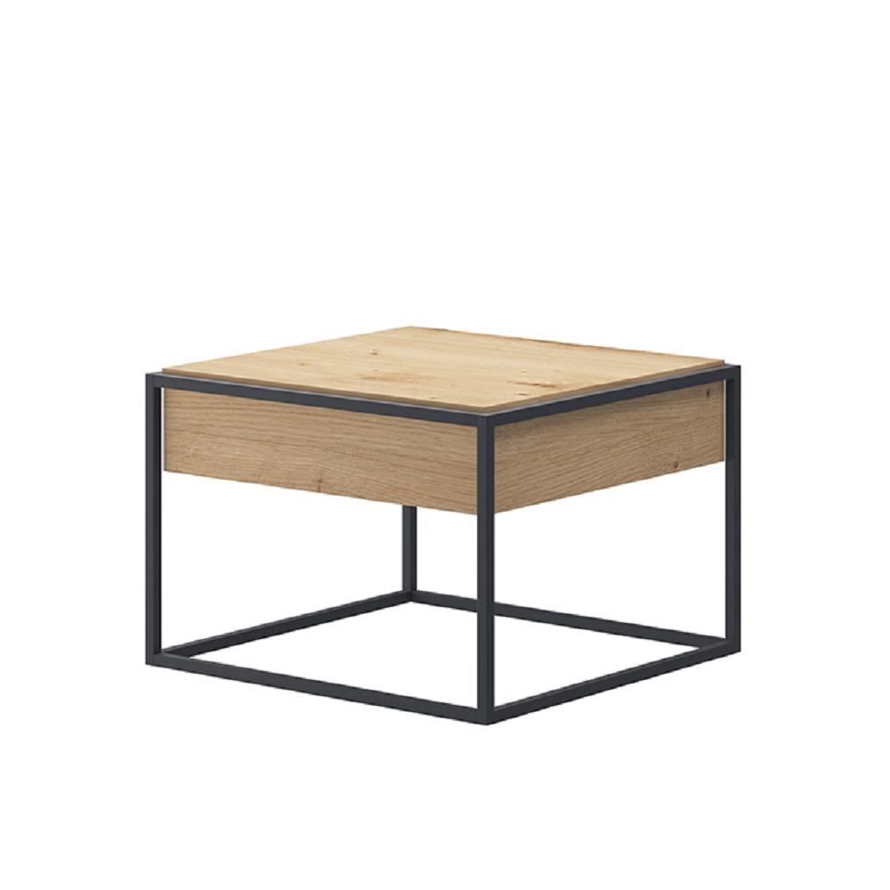 Dohányzóasztal, tölgy artisan/fekete, SPRING EL60